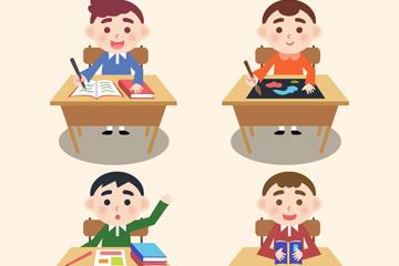 4款创意课桌前的男孩矢量图