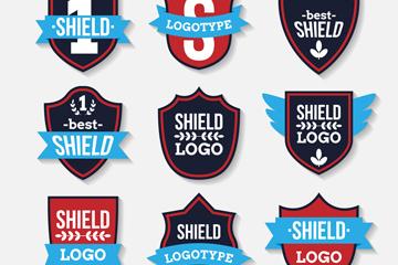 9款时尚盾牌标志矢量素材
