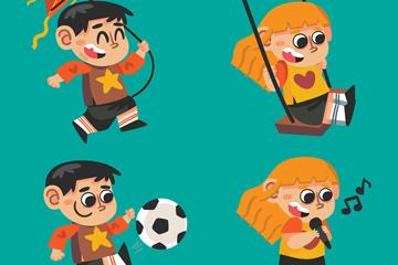 4款可爱玩耍儿童矢量素材