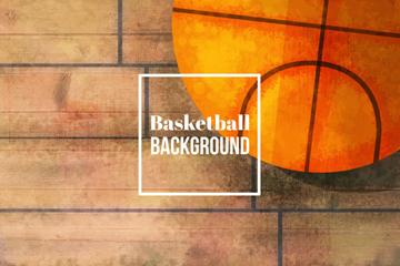 彩绘地板上的篮球矢量素材