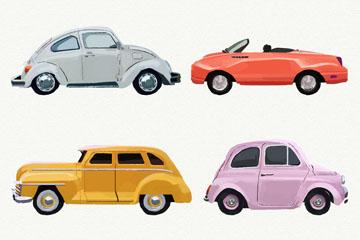 4款手绘彩色车辆矢量素材