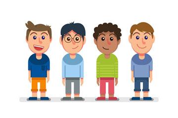 4款卡通笑脸男孩矢量素材