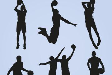 7款创意篮球人物剪影矢量素材