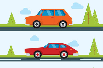 3款创意开在路上的车辆矢量图