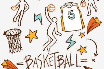 11款彩绘篮球元素矢量素材