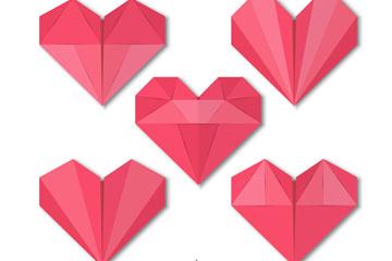 5款红色折纸爱心矢量素材