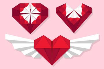 3款创意红色爱心折纸矢量图