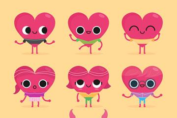9款可爱卡通表情爱心矢量素材