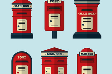 6款红色信箱设计矢量素材
