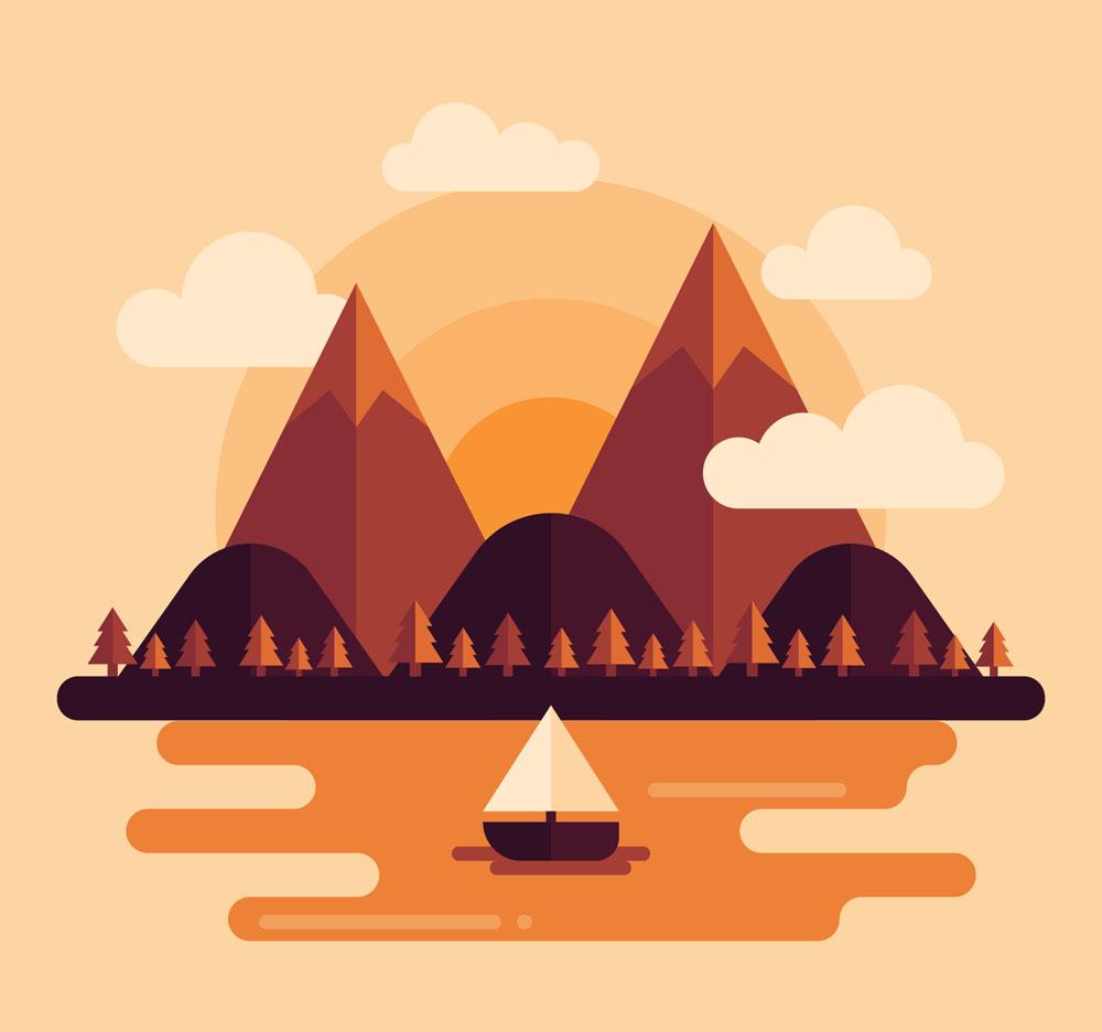 创意山与河流风景矢量素材图片