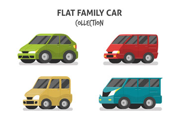 6款扁平化家用轿车设计矢量素材