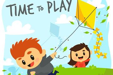 郊外放风筝的男孩和女孩矢量图