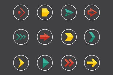 16款彩色圆形箭头图标矢量素材