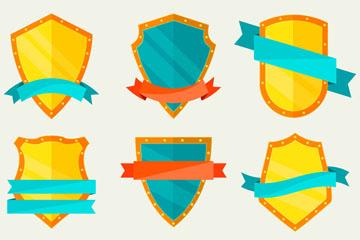 6款扁平化丝带盾牌矢量素材