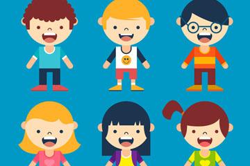 6款可爱大笑儿童矢量素材