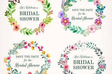 4款水彩绘新娘送礼会花环矢量图