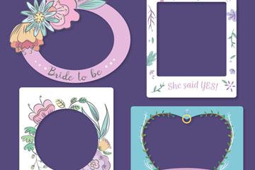 4款彩色新娘送礼会框架矢量素材