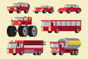 10款创意红色车辆矢量素材