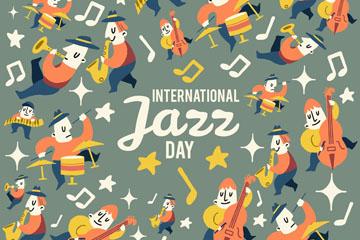 创意国际爵士乐日人物无缝背景矢量图