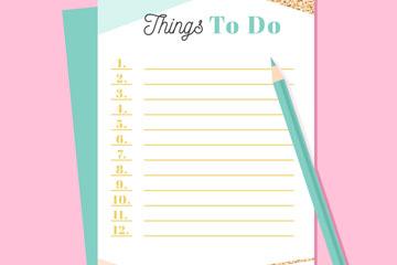 创意空白清单和铅笔矢量素材