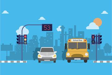 创意城市道路路口和车辆矢量素材