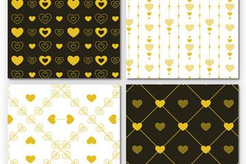 4款金色爱心无缝背景矢量图
