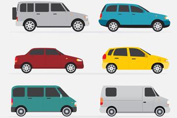 6款彩色车辆侧面设计矢量素材
