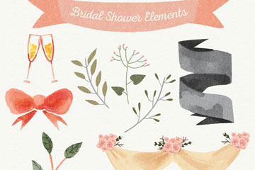 10款水彩绘新娘送礼会元素设计矢量图