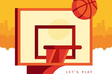 扁平化篮球架和篮球矢量素材