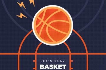扁平化投进篮筐里的篮球矢量图