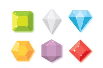 9款彩色钻石设计矢量素材