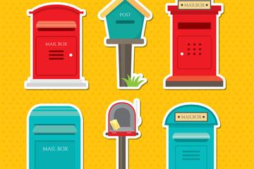 6款彩色信箱设计矢量素材