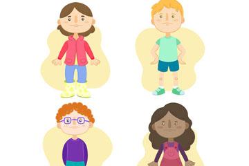 4款手绘儿童设计矢量素材