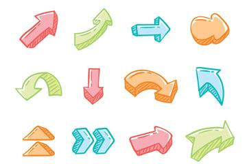 16款彩色手绘箭头矢量素材