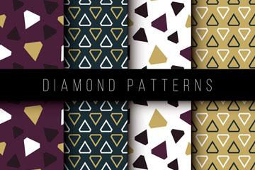 4款创意钻石无缝背景矢量素材