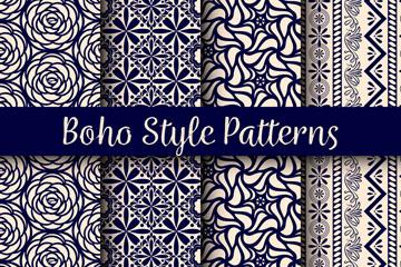 4款创意波西米亚风格花纹无缝背