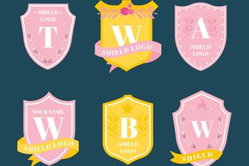 6款彩色字母盾牌标志矢量素材