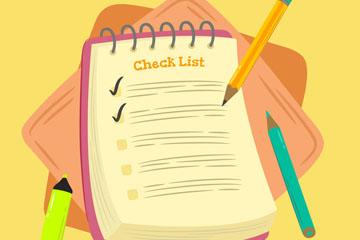 彩绘铅笔和清单矢量素材