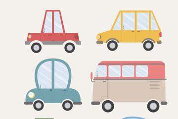 6款可爱车辆设计矢量素材