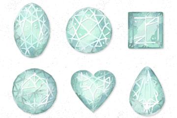 6款蓝色花纹宝石矢量素材