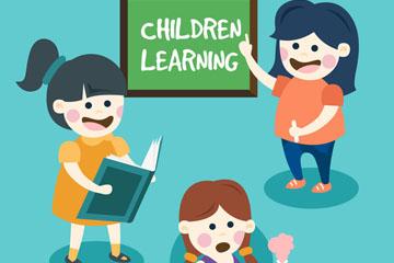 3款创意学习女孩矢量素材