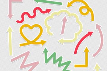 16款彩色箭头贴纸矢量素材