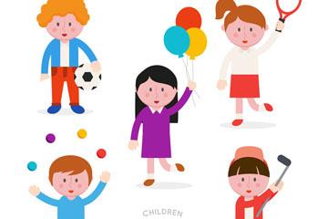 5款创意玩耍儿童矢量素材