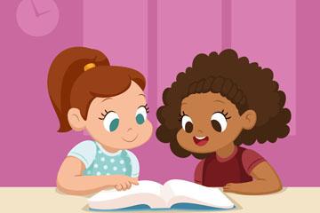可爱读书的2个女孩矢量素材