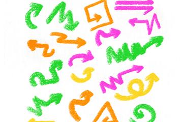 20款彩色蜡笔绘箭头矢量素材