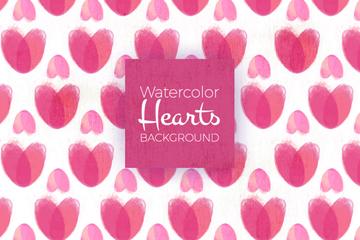 水彩绘粉色爱心无缝背景矢量素材