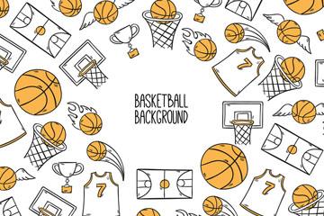 手绘篮球元素背景矢量素材
