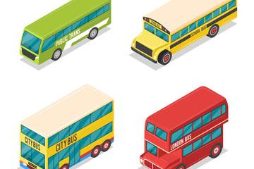 4款彩色立体车辆设计矢量素材