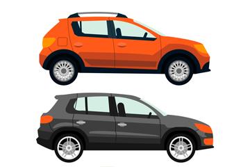 3款彩色时尚轿车设计矢量图