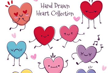 9款彩绘表情爱心矢量素材